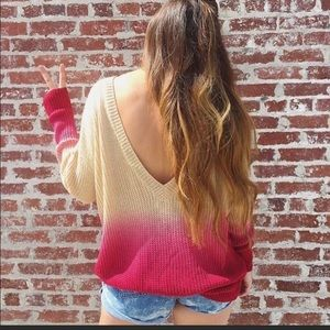 Sweaters - Oversized Pink & Cream Ombré Sweater Low Back
